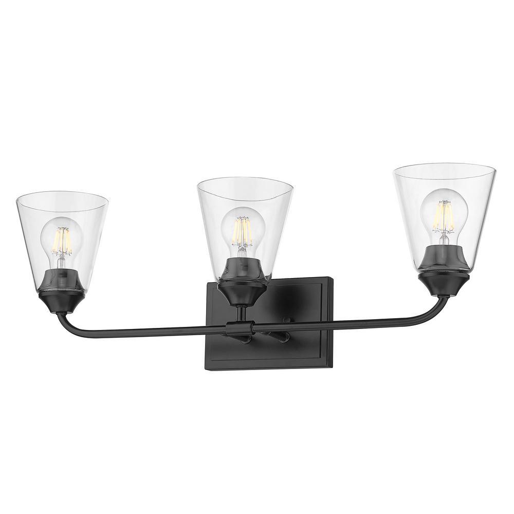 Ormond 4.375 in. 3-Light Matte Black Vanity Light