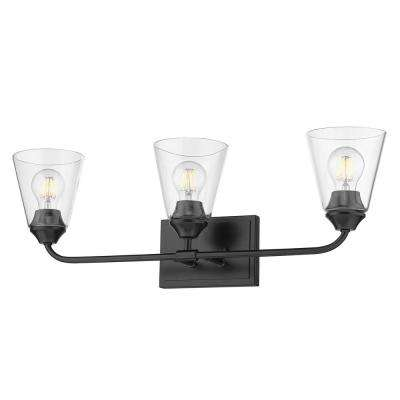 Ormond 4.375 in. 3-Light Matte Black Vanity Light