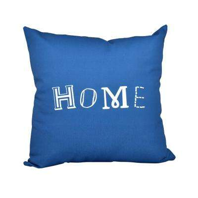 16 in. x 16 in. Blue Home Word Print Pillow