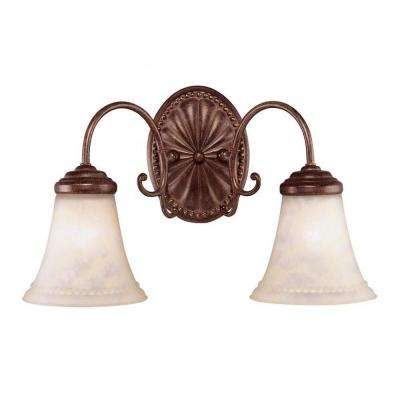 Indica 2-Light Walnut Patina Bath Vanity Light