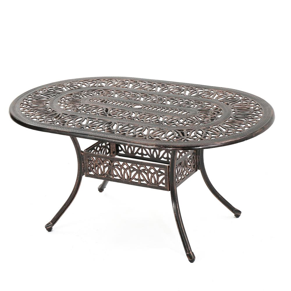 Tucson Copper Oval Aluminum Outdoor Dining Table - Noble House Tucson Copper Oval Aluminum Outdoor Dining Table-296532