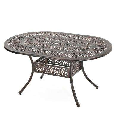 Brilliant Tucson Copper Oval Aluminum Outdoor Dining Table Home Remodeling Inspirations Cosmcuboardxyz