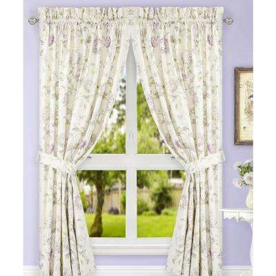 Abigail Lilac Polyester/Cotton Tailored Pair Curtains with Ties - 90 in. W x 63 in. L