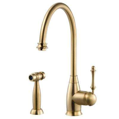 Charlotte Traditional Single-Handle Standard Kitchen Faucet with Sidespray and CeraDox Technology in Brushed Brass