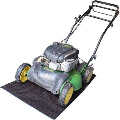 Gray 32 in. x 60 in. Lawn Mower Mat with Grid