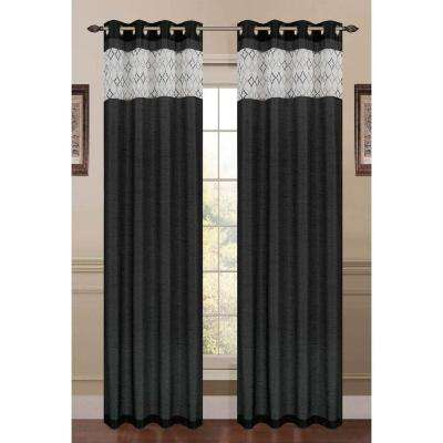 Semi-Opaque Felicity Embroidered Faux Silk 54 in. W x 84 in. L Grommet Extra Wide Curtain Panel in Black
