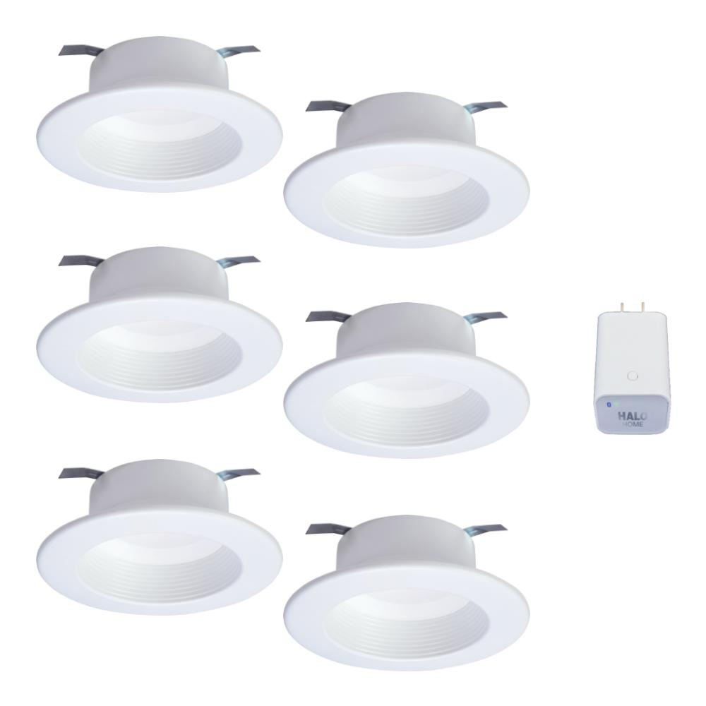 Halo 4in  Tunable CCT Smart Integrated LED Recessed Retrofit Trim (6-Pack)  and Bluetooth Internet Access Bridge by HALO Home
