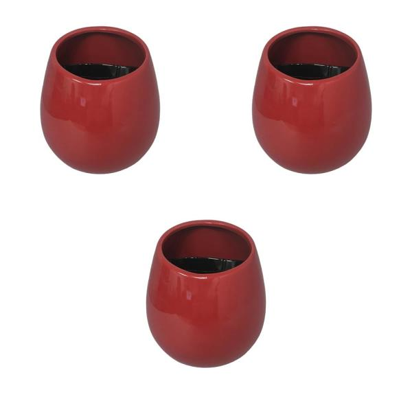 Round 3-1/2 in. x 4 in. Red Ceramic Wall Planter (3-Piece)