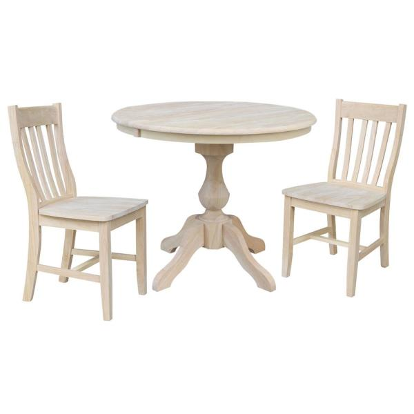 Sophia 3-Piece 36 in. Unfinished Extendable Solid Wood Dining Set with Cafe Chairs