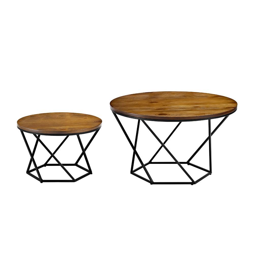 Walker Edison Furniture Company Geometric Wood Nesting Oak and Black