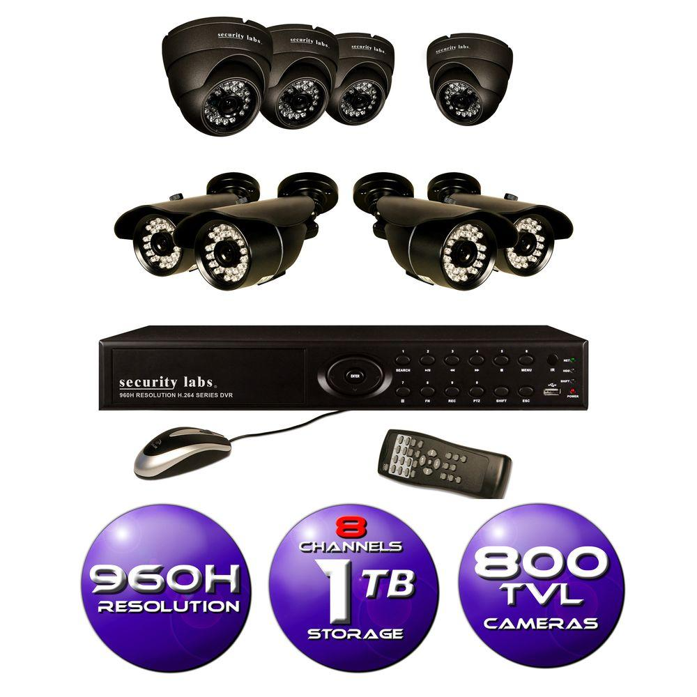 Security Labs 8-Channel 960H Surveillance System with 1TB HDD and (8) 800 TVL Cameras
