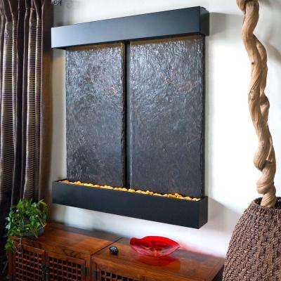 Double Nojoqui Falls Lightweight Slate Wall Fountain in Black Onyx Trim