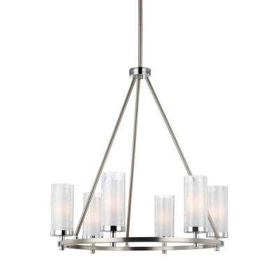 Jonah 6-Light Satin Nickel/Chrome Single Tier Chandelier Shade