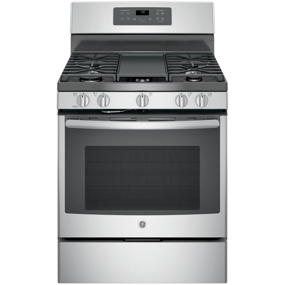 Ge 5 0 Cu Ft Gas Range With Self Cleaning Convection Oven In Stainless Steel