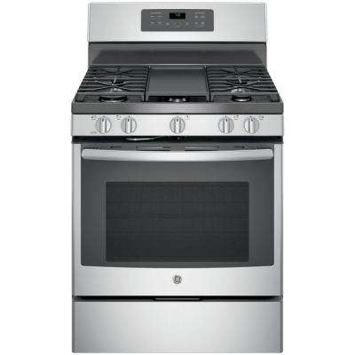 '5.0 cu. ft. Gas Range with Self-Cleaning Convection Oven in Stainless Steel' from the web at 'https://images.homedepot-static.com/productImages/3745a985-a2f8-4e2f-b926-1839bda9960e/svn/stainless-steel-gray-ge-single-oven-gas-ranges-jgb700sejss-64_400_compressed.jpg'