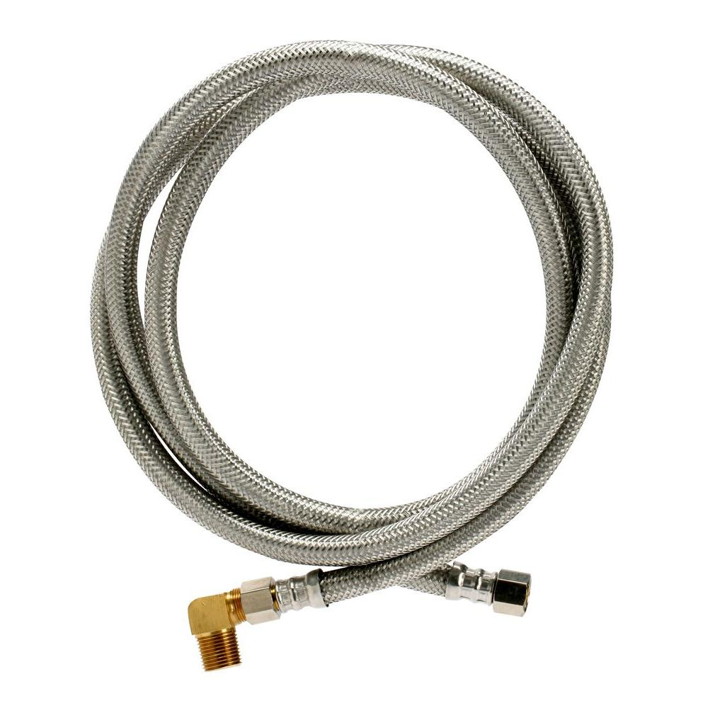 Fluidmaster Braided Stainless Steel Dishwasher Connector 3/8 in. Comp x 3/8 in. Comp x 72 in. Length, with 90° Elbow Fitting
