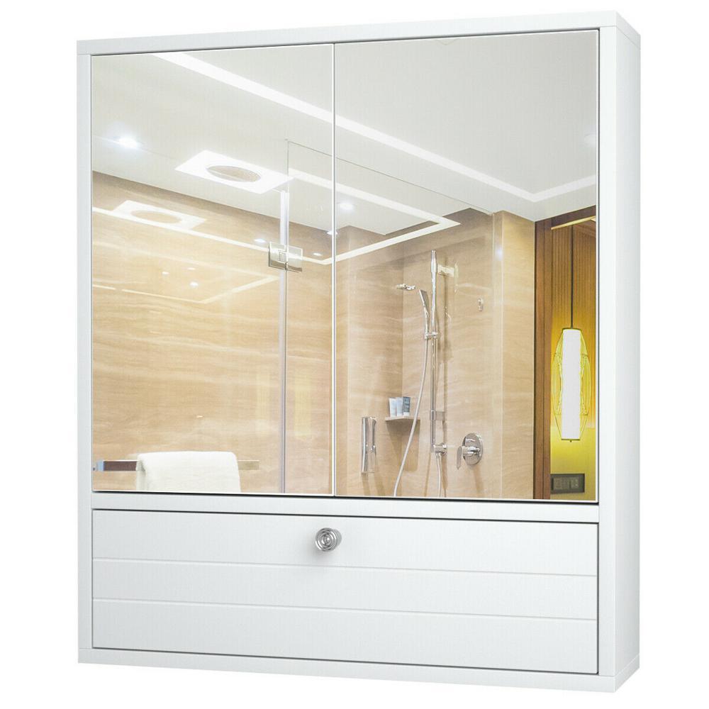 21.5 in. W Wall Mount Bathroom Storage Wall Cabinet with Double Mirror Door