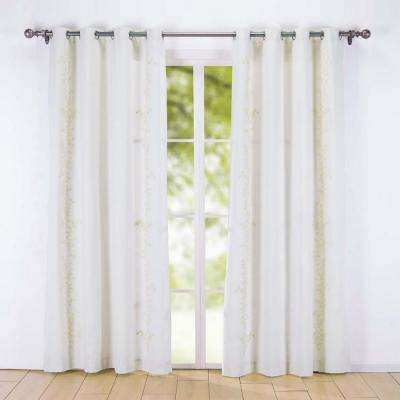 Embroidered Canvas Window Panels 54 in. x 84 in. in  Cream