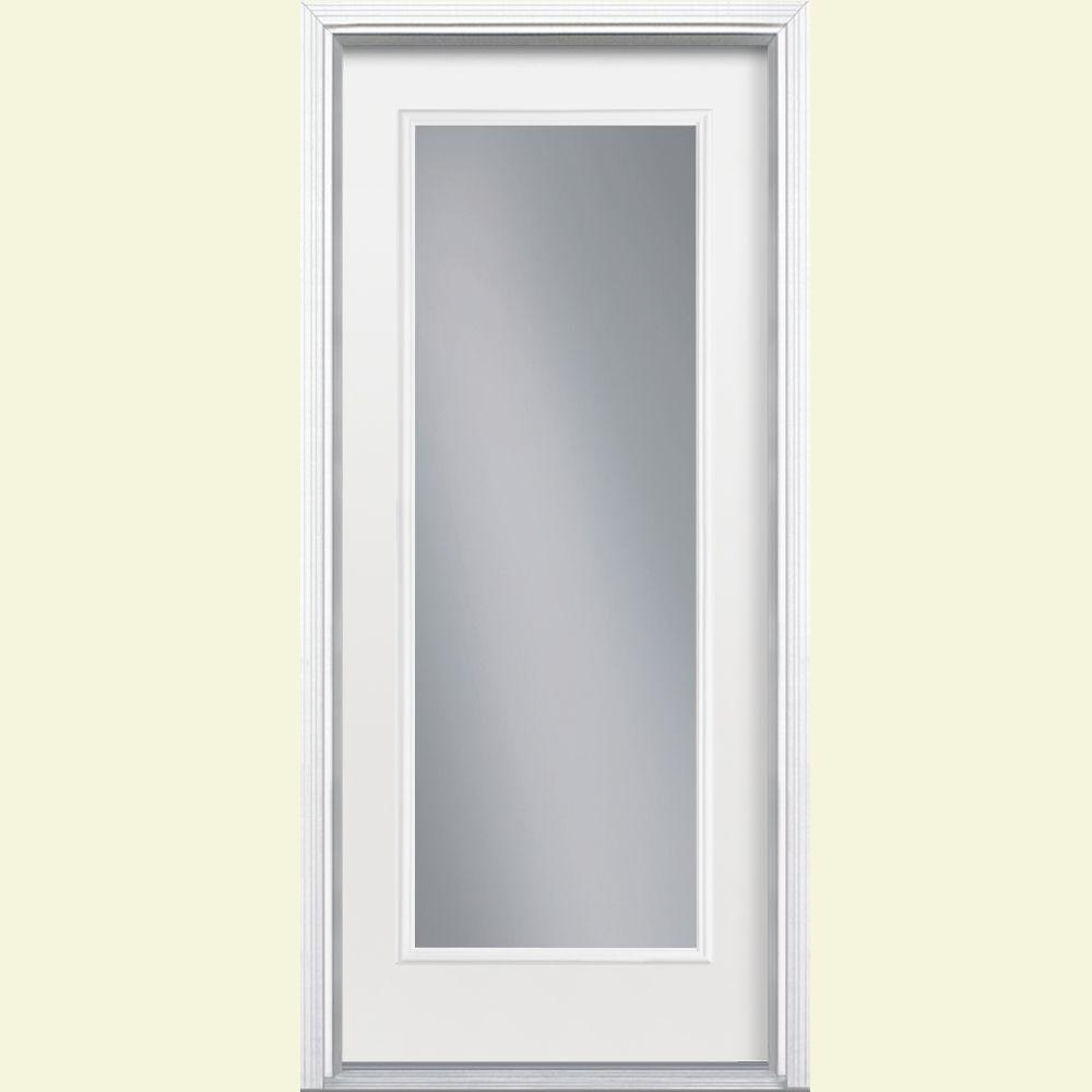 Full Lite Right Hand Inswing Primed White Smooth Fiberglass Prehung Front Door W Brickmold Vinyl Frame 46248 The Home Depot