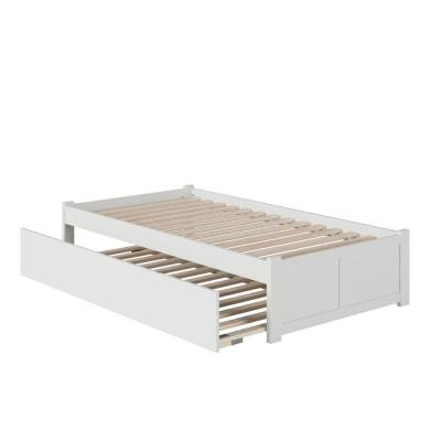 Concord Twin Extra Long Bed with Footboard and Twin Extra Long Trundle in White