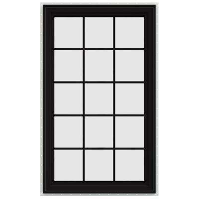 35.5 in. x 59.5 in. V-4500 Series Left-Hand Casement Vinyl Window with Grids - Black