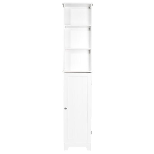 Contemporary Country 13.5 in. W x 8 in. D x 65 in. H Free Standing Floor Shelf with Lower Cabinet in White