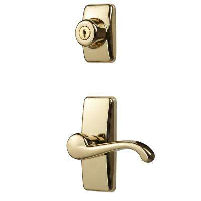 Bright Brass Coated Zinc Storm and Screen Door Lever Handle Set with Deadbolt