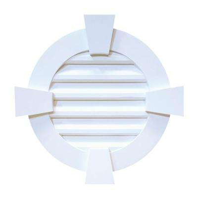 24 in. x 24 in. x 2-3/8 in. Polyurethane Decorative Round Louver Vent with Flat Trim and Keystones