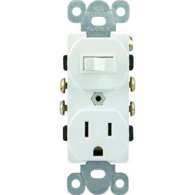 All-in-One Toggle Switch and Single Pole Outlet, White