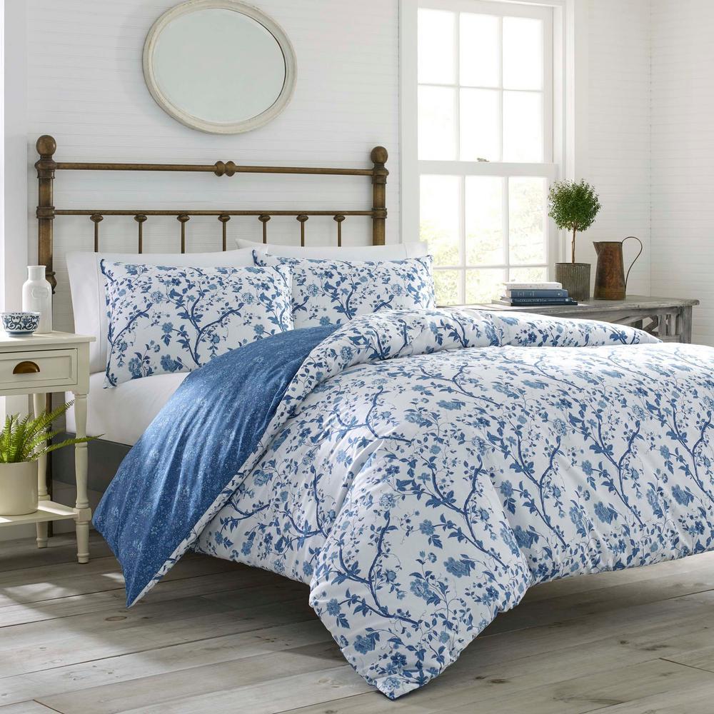 Elise Navy Cotton 7-Piece Comforter Set, Full/Queen