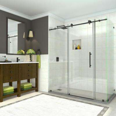 Coraline 68 - 72 in. x 33.875 in. x 76 in. Completely Frameless Sliding Shower Enclosure in Oil Rubbed Bronze