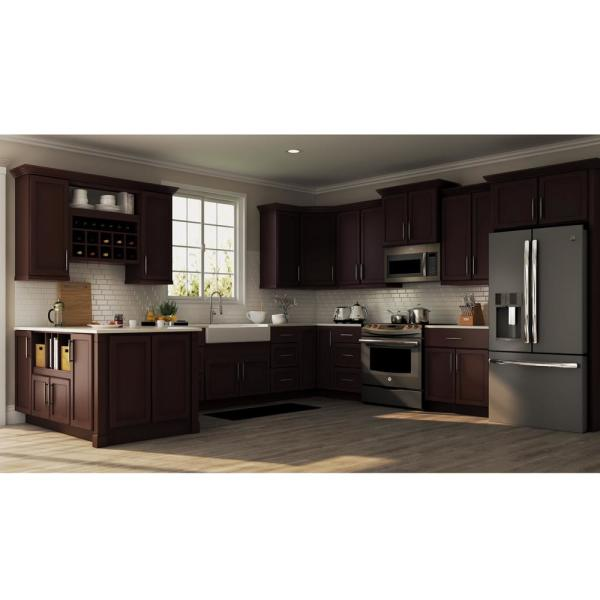Hampton Bay Shaker Assembled 24x36x12 In Diagonal Corner Wall Kitchen Cabinet In Java Kwd2436 Sjm The Home Depot