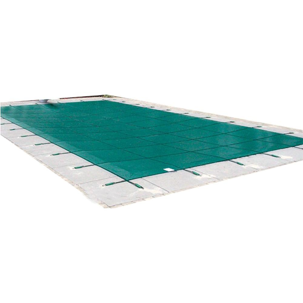 Water Warden 18 ft. x 38 ft. Rectangle Green Mesh In-Ground Safety Pool Cover