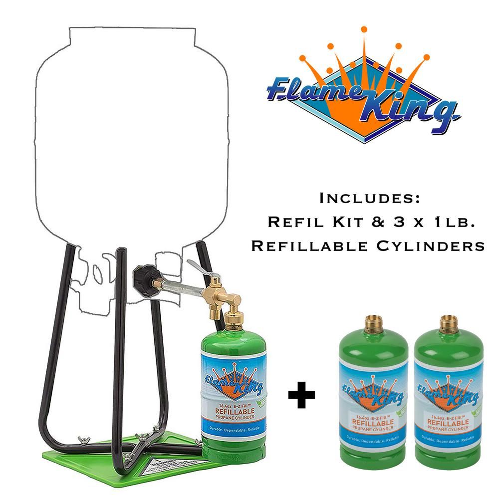 Flame King Three 1 lb. Refillable Propane Cylinders with Refill Kit