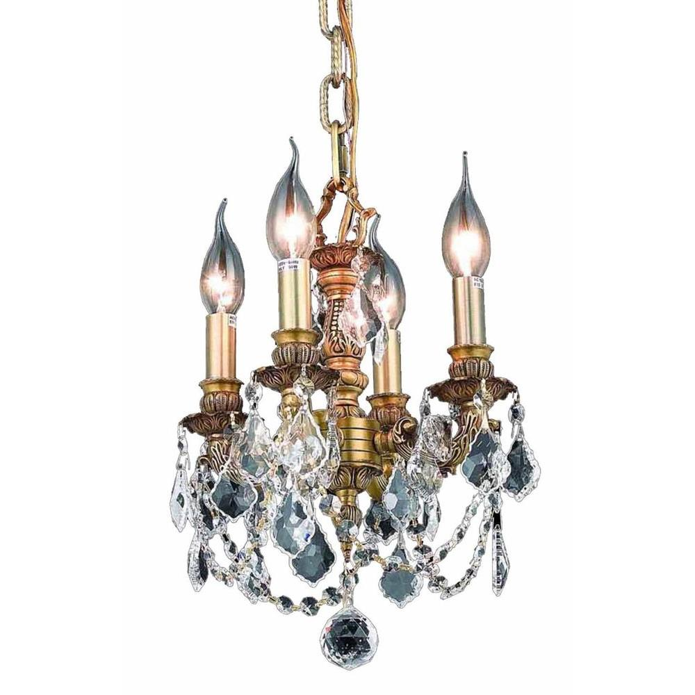 4-Light French Gold Chandelier with Clear Crystal