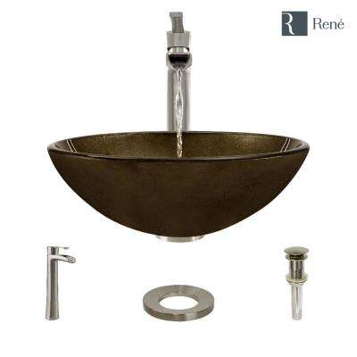 Glass Vessel Sink in Regal Bronze and Earth Tones with R9-7007 Faucet and Pop-Up Drain in Brushed Nickel