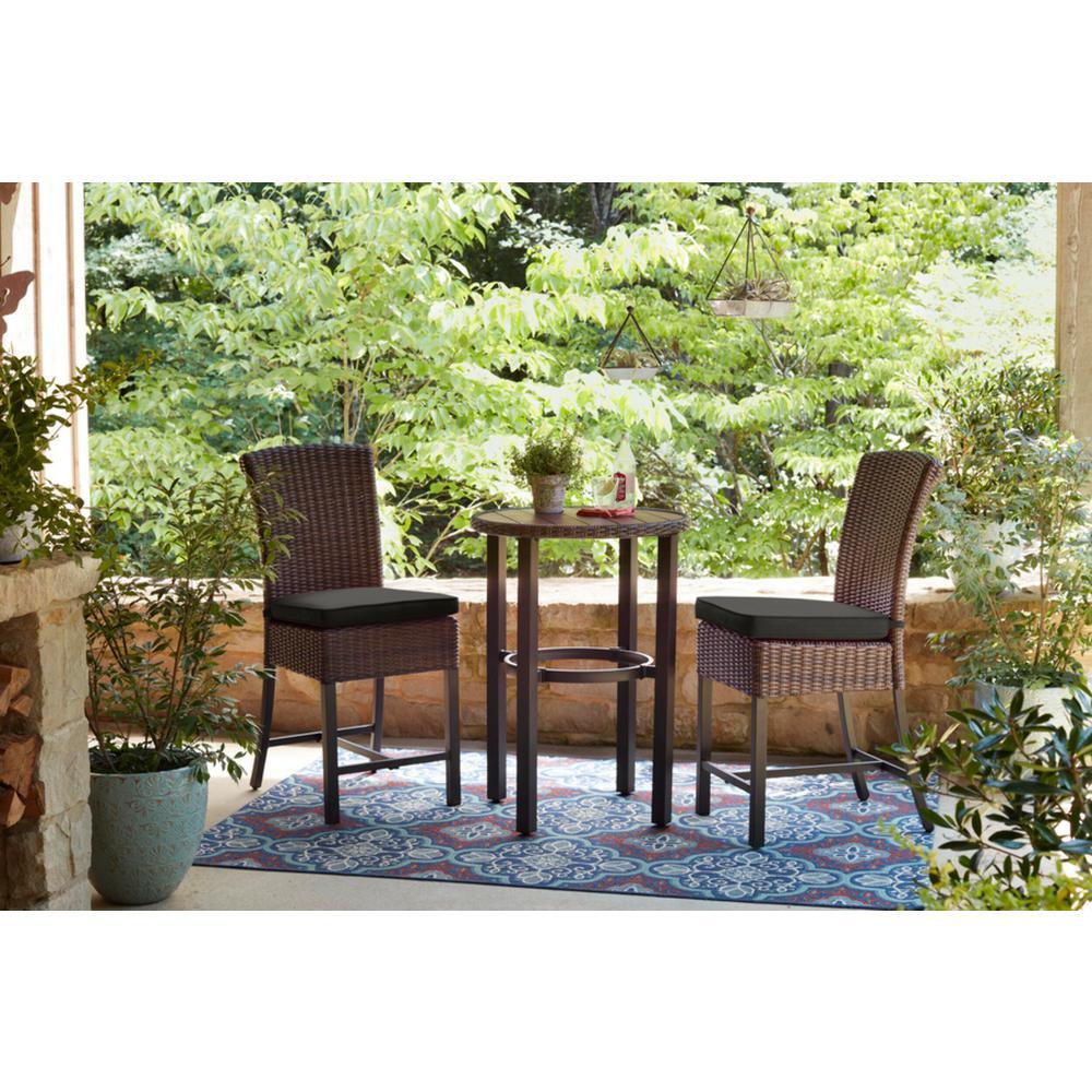 Harper Creek Brown 3-Piece Steel Outdoor Patio Bar Height Dining Set with CushionGuard Graphite Dark Gray Cushions