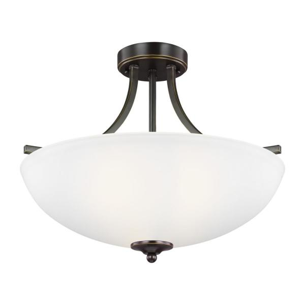 Geary 3-Light Heirloom Bronze Semi-Flush Mount Convertible Pendant with LED Bulbs
