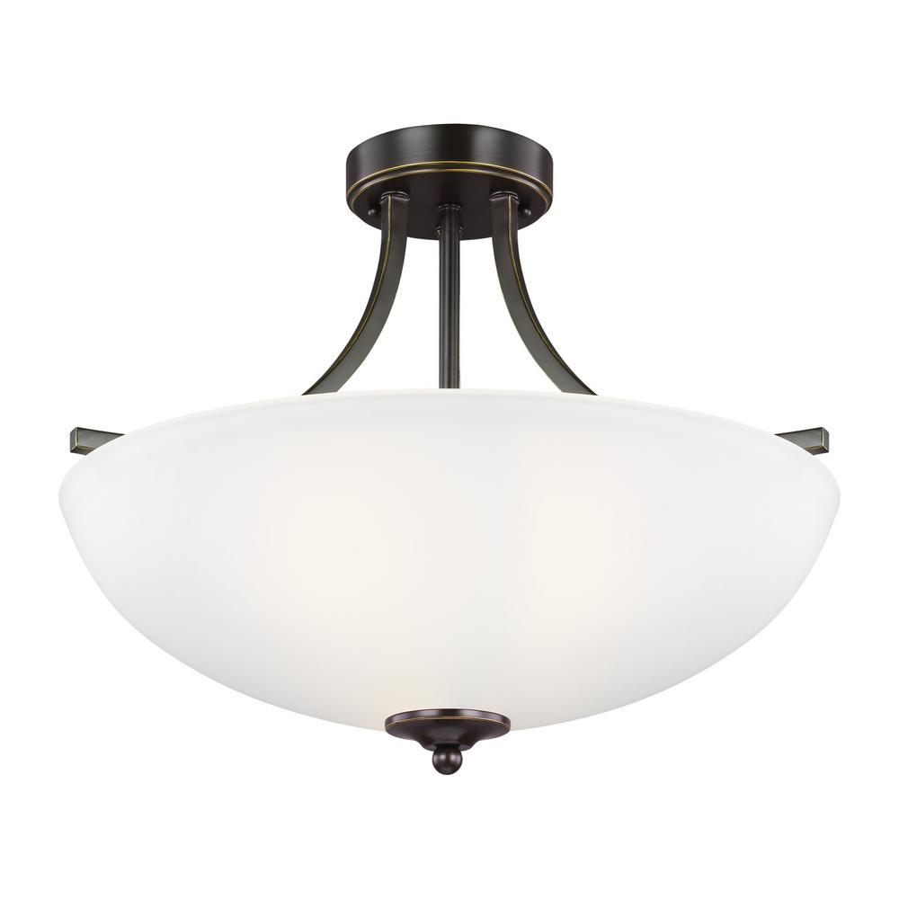 Geary 3-Light Heirloom Bronze Semi-Flushmount Convertible Pendant with LED Bulbs