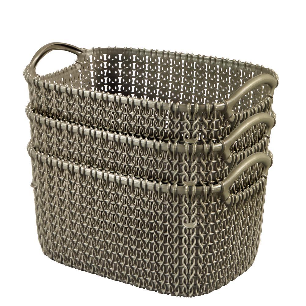 Curver 8.0 Qt. Knit Rectangular Resin Small Storage Basket Set In Harvest  Brown (3