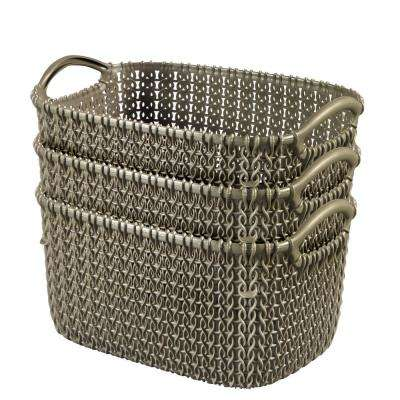 8.0 Qt. Knit Rectangular Resin Small Storage Basket Set in Harvest Brown (3-Piece Set)