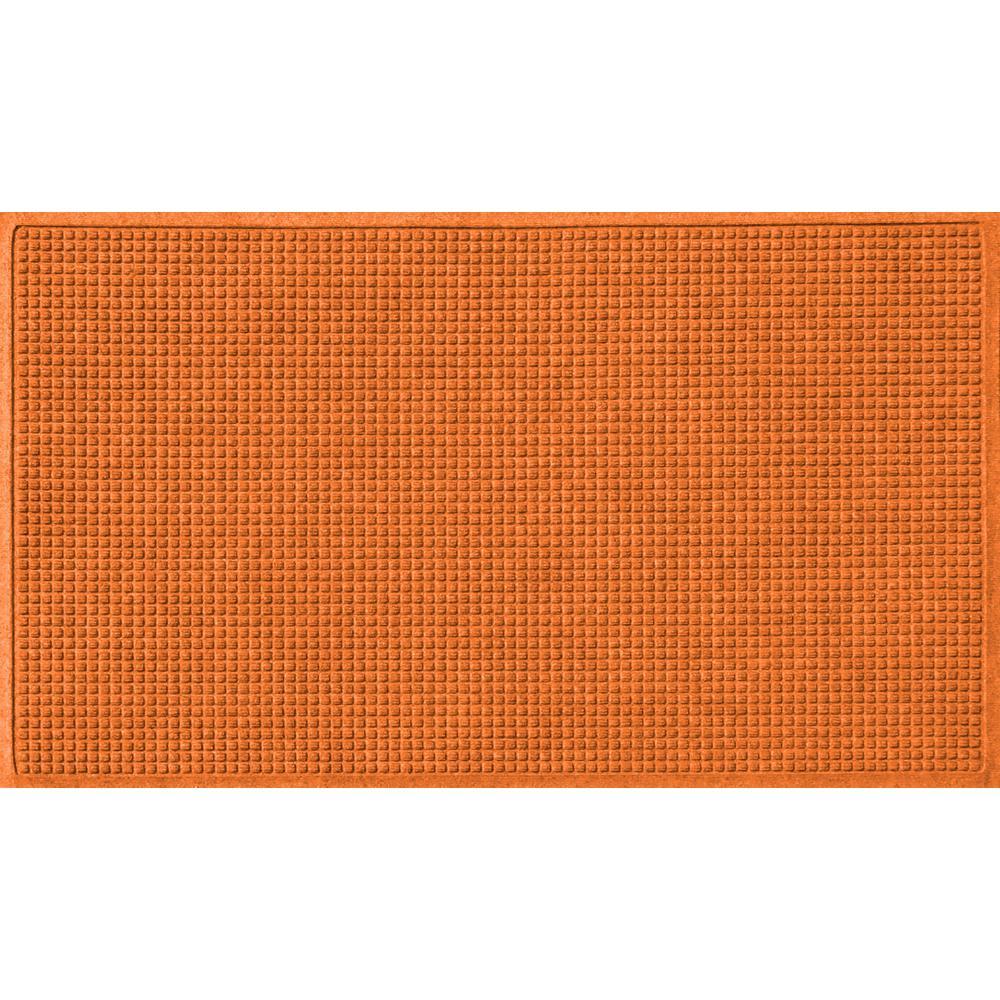 Orange 36 in. x 84 in. Squares Polypropylene Door Mat
