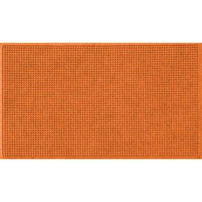 Orange 36 in. x 84 in. Squares Polypropylene Door Mat