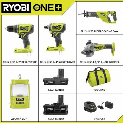 ONE+ 18V Brushless Cordless 5-Tool Combo Kit with (1) 1.5 Ah Battery, (1) 4.0 Ah Battery, Charger, and Bag