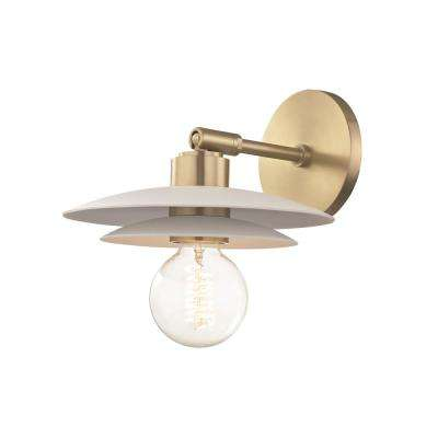 Milla 1-Light Aged Brass Small Wall Sconce with White Shade
