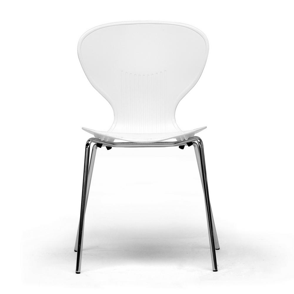 Baxton Studio Boujan White Finished Plastic Dining Chairs Set Of 2