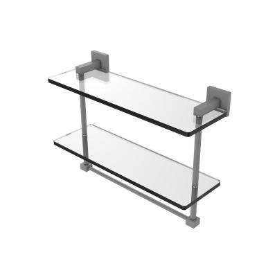 Montero Collection 16 in. Two Tiered Glass Shelf with Integrated Towel Bar in Matte Gray