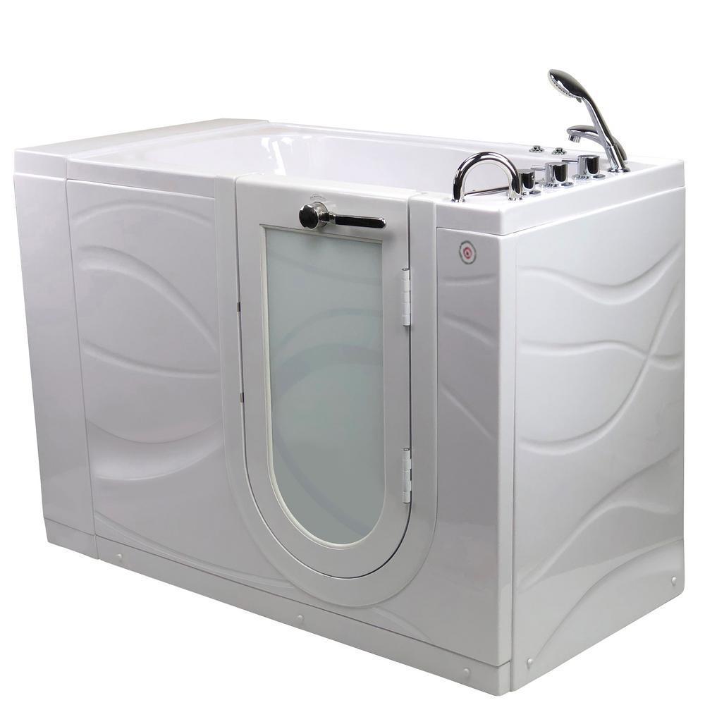 Ella Chi 52 in. Walk-In MicroBubble and Air Bath Bathtub in White ...