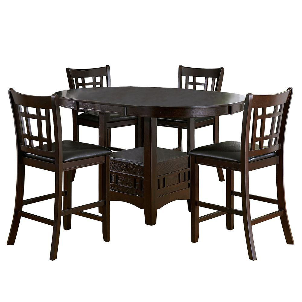 HomeSullivan Ryoko 5 Piece Dark Cherry Bar Table Set