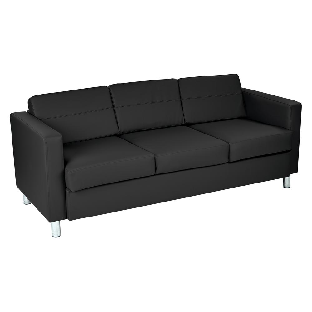 Osp Home Furnishings Pacific Dillon Black Vinyl Sofa Couch With Box Spring Seats And Silver Color